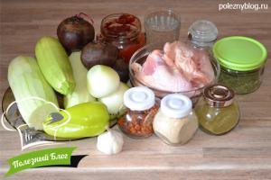 Курица тушёная с кабачками | Ингредиенты