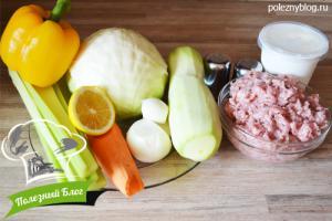 Овощное рагу с фаршем   Ингредиенты