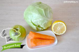 Cалат из моркови, капусты и яблока   Ингредиенты