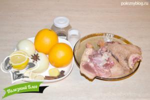 Утка в апельсиновом соусе | Ингредиенты