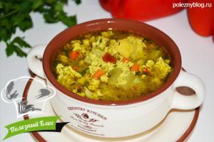 Овощной суп с яйцом   Готовый