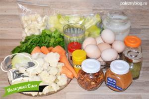 Овощной суп с яйцом   Ингредиенты